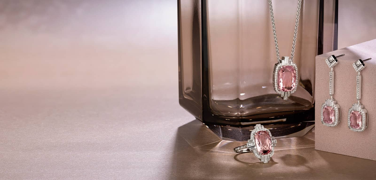 An array of beautiful diamond and coloured gemstone necklaces and pendants to suit every occasion
