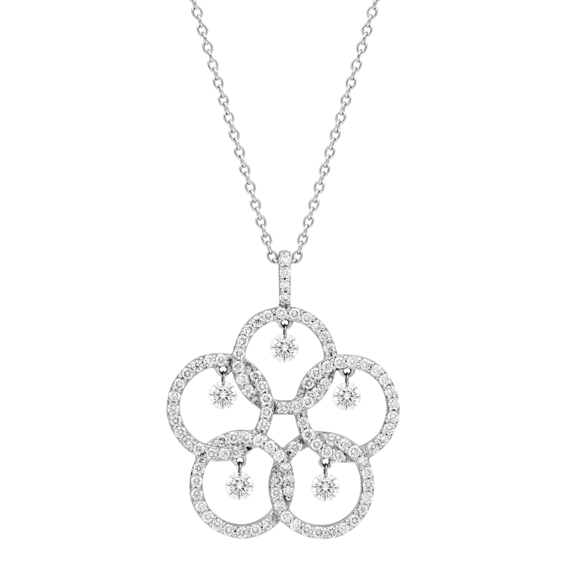A Floral Inspired Open Set Diamond Pendant