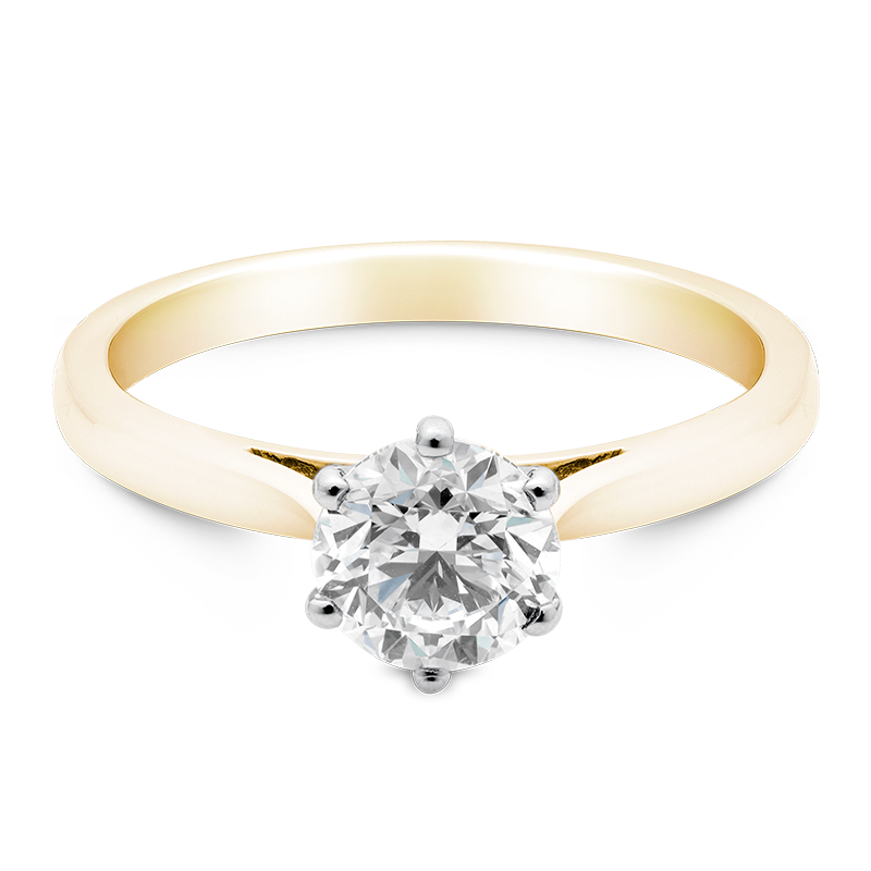 Round Brilliant Cut Solitaire, 18ct Yellow Gold
