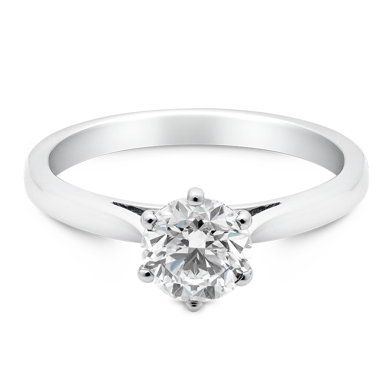 Round Brilliant Cut Solitaire, 18ct White Gold