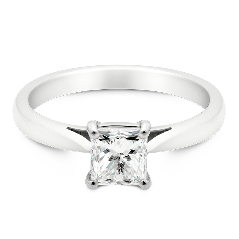 Princess Cut Solitaire, 18ct White Gold