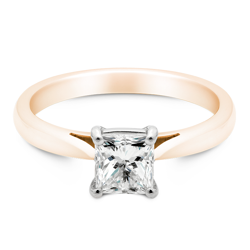 Princess Cut Solitaire, 18ct Rose Gold
