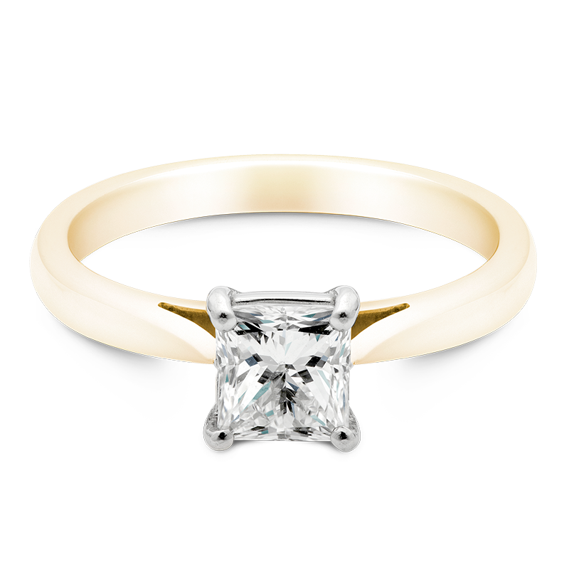 Princess Cut Solitaire, 18ct Yellow Gold