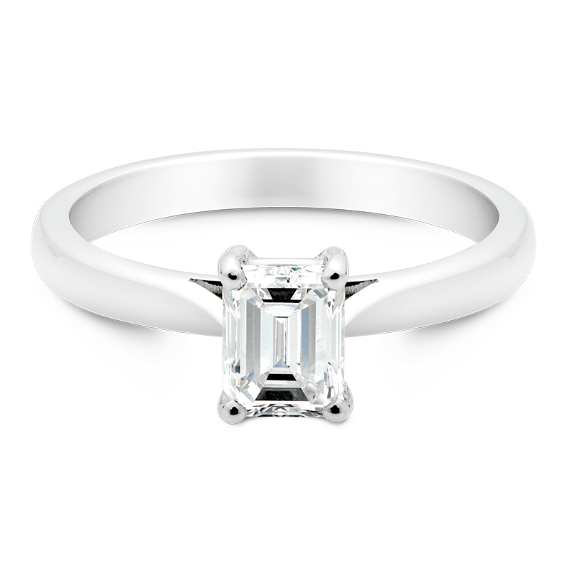 Emerald Cut Solitaire, 18ct White Gold