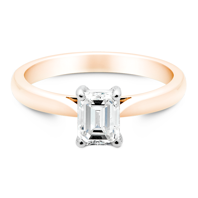 Emerald Cut Solitaire, 18ct Rose Gold