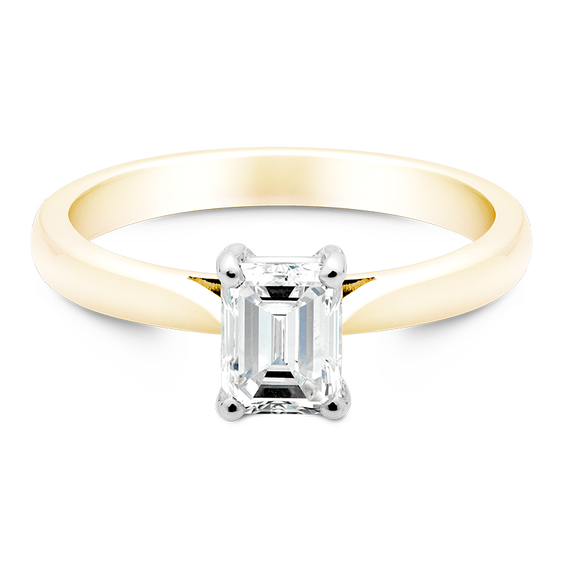Emerald Cut Solitaire, 18ct Yellow Gold