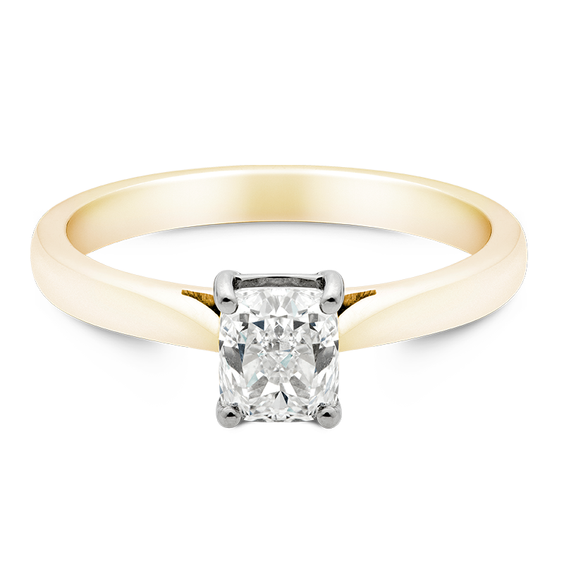 Cushion Cut Solitaire, 18ct Yellow Gold