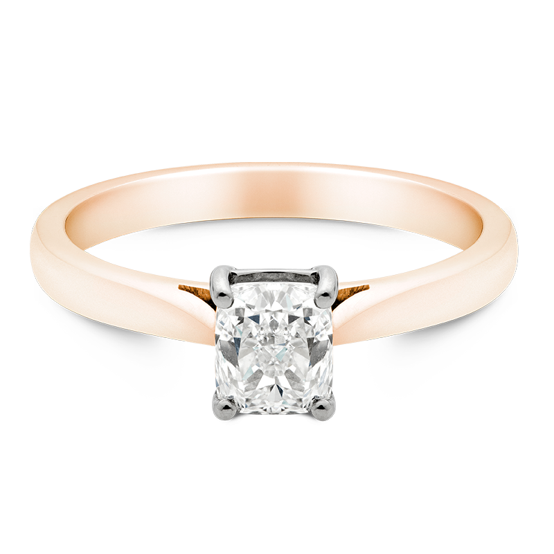 Cushion Cut Solitaire, 18ct Rose Gold