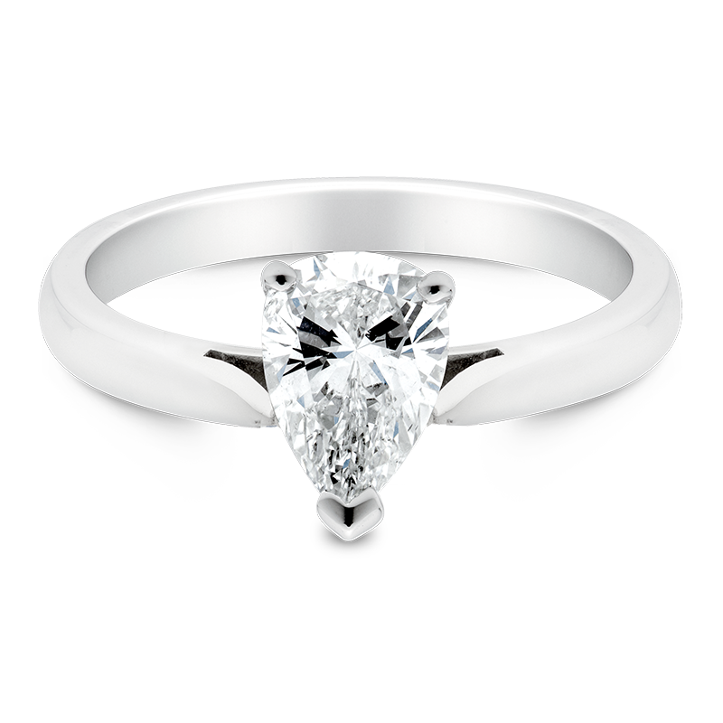 Pear Cut Solitaire, 18ct White Gold