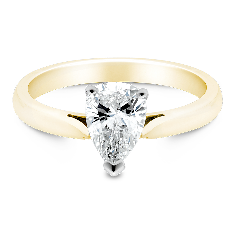 Pear Cut Solitaire, 18ct Yellow Gold