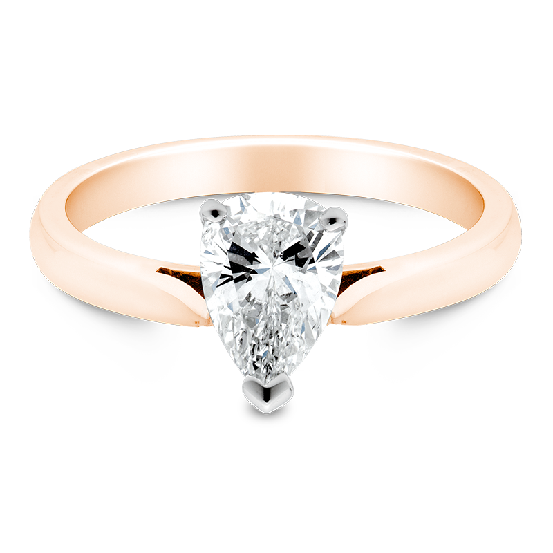 Pear Cut Solitaire, 18ct Rose Gold