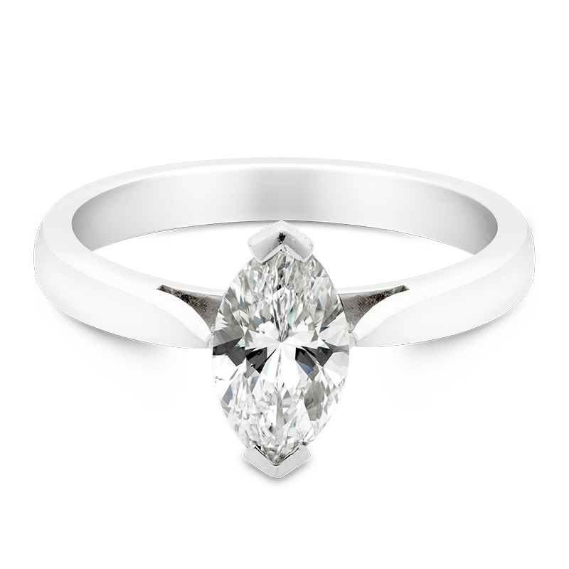 Marquise Cut Solitaire, 18ct White Gold