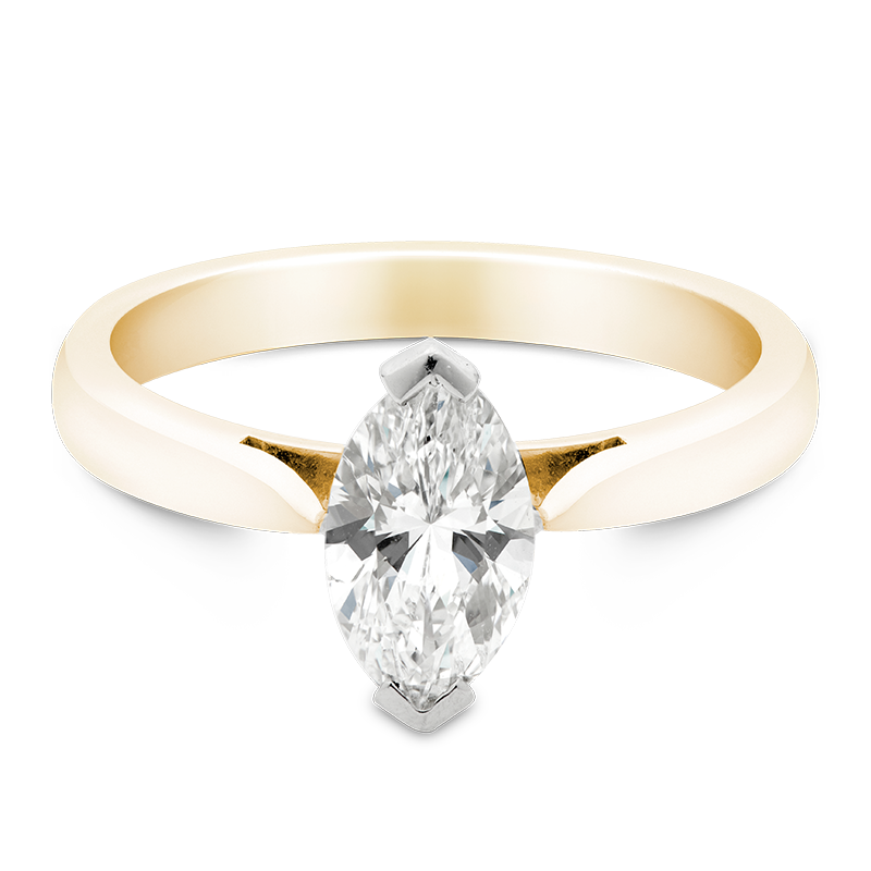 Marquise Cut Solitaire, 18ct Yellow Gold