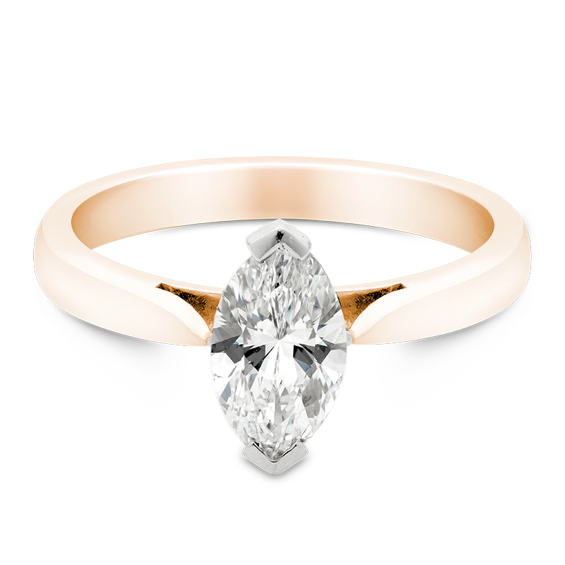 Marquise Cut Solitaire, 18ct Rose Gold