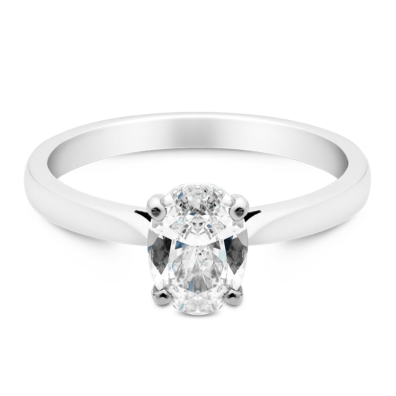 Oval Cut Solitaire, 18ct White Gold