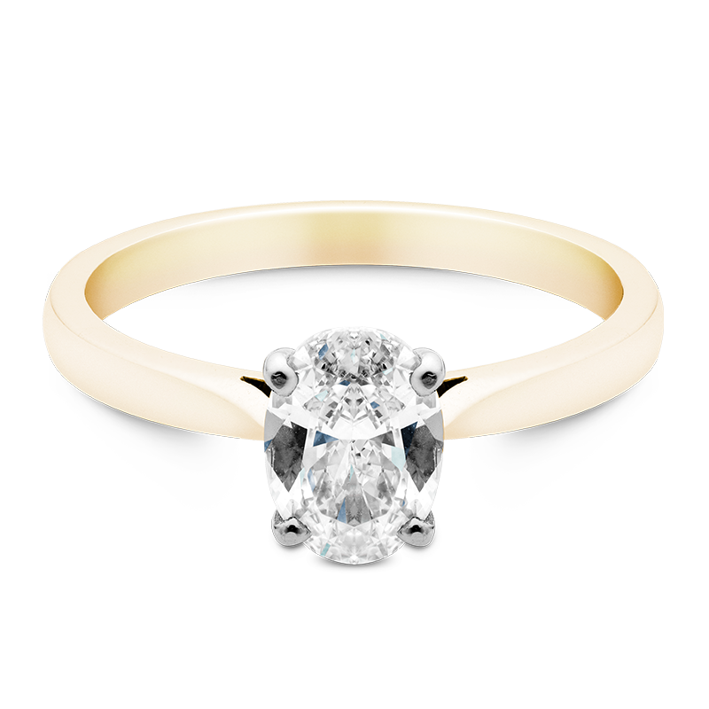 Oval Cut Solitaire, 18ct Yellow Gold