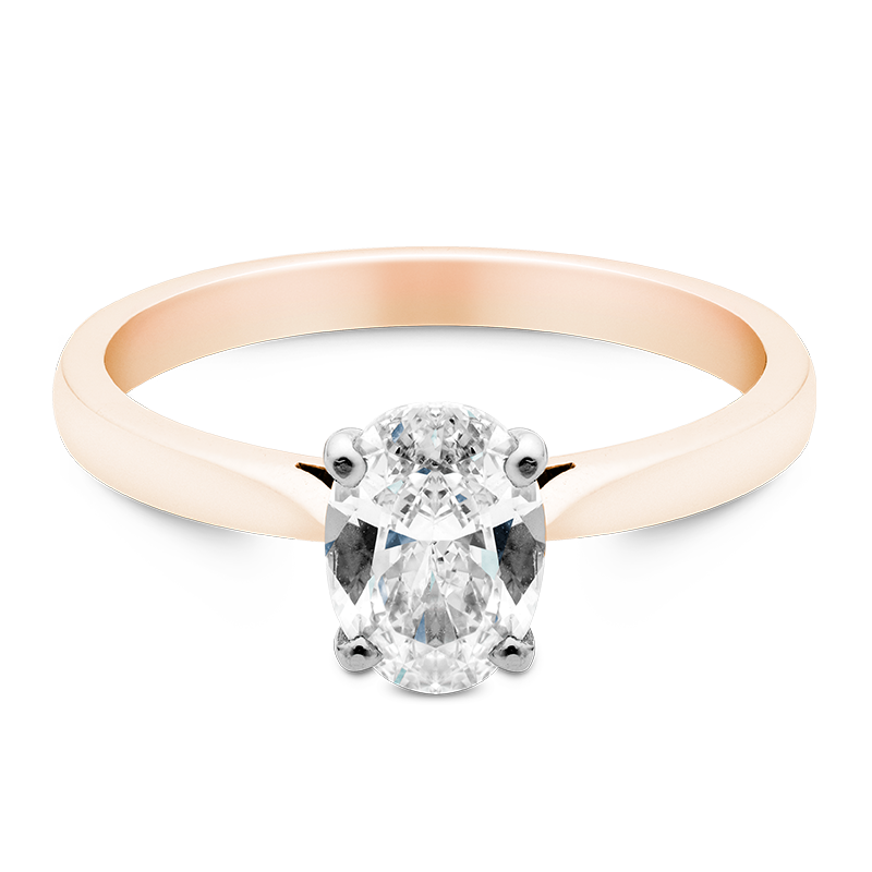 Oval Cut Solitaire, 18ct Rose Gold