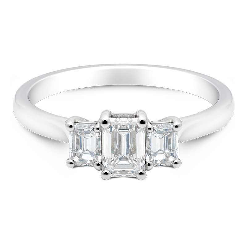 Emerald Cut Trilogy, 18ct White Gold