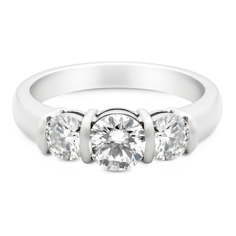 Round Brilliant Cut Trilogy, 18ct White Gold