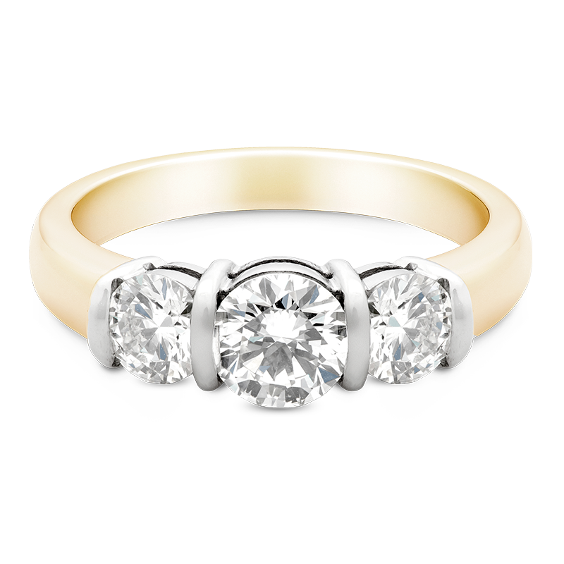 Round Brilliant Cut Trilogy, 18ct Yellow Gold