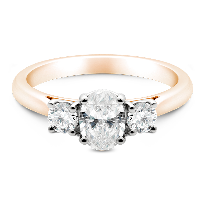 Oval Cut Trilogy, 18ct Rose Gold