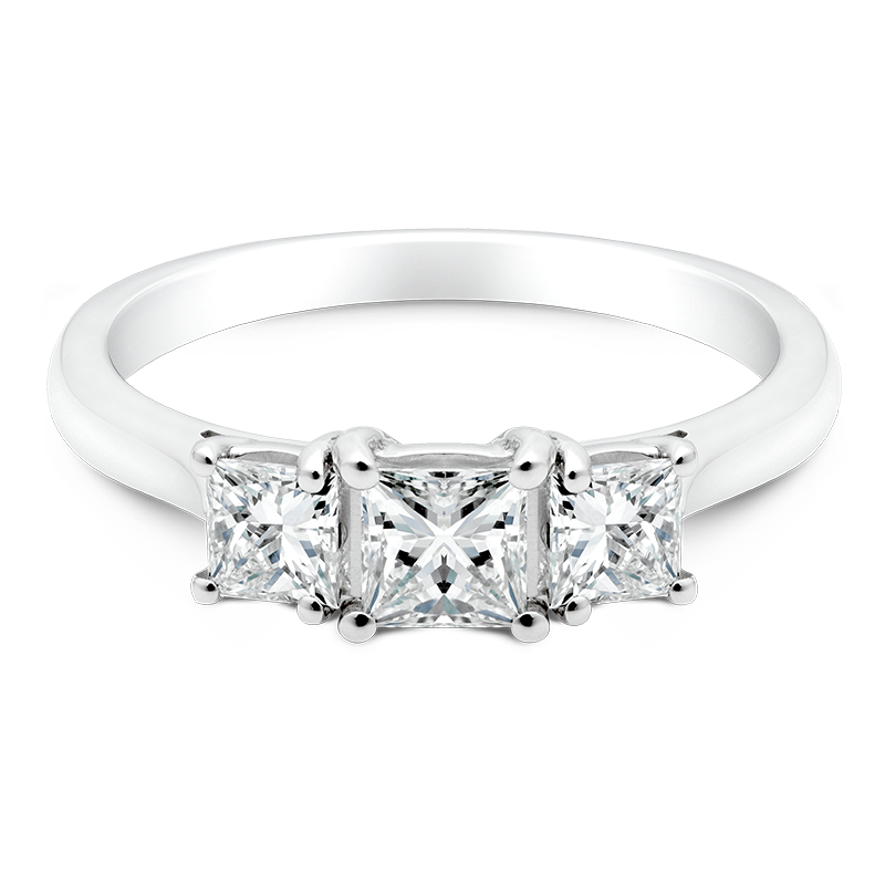 Princess Cut Trilogy, 18ct White Gold