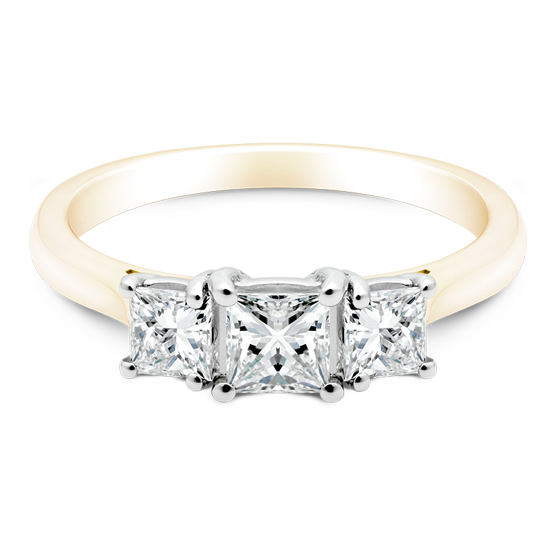 Princess Cut Trilogy, 18ct Yellow Gold