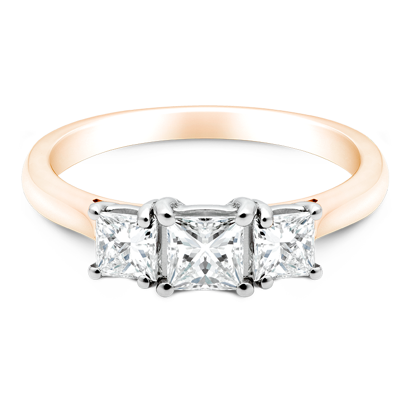 Princess Cut Trilogy, 18ct Rose Gold
