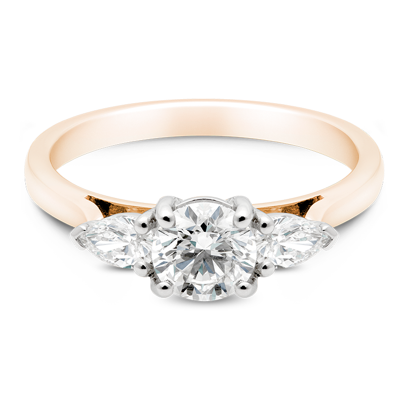 Round Brilliant Cut Trilogy, 18ct Rose Gold