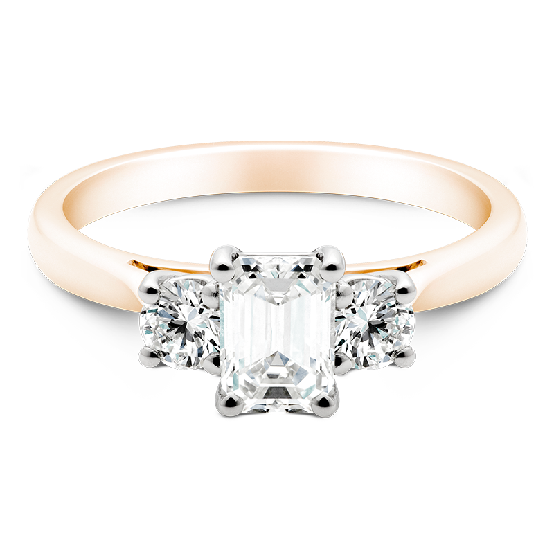 Emerald Cut Trilogy, 18ct Rose Gold