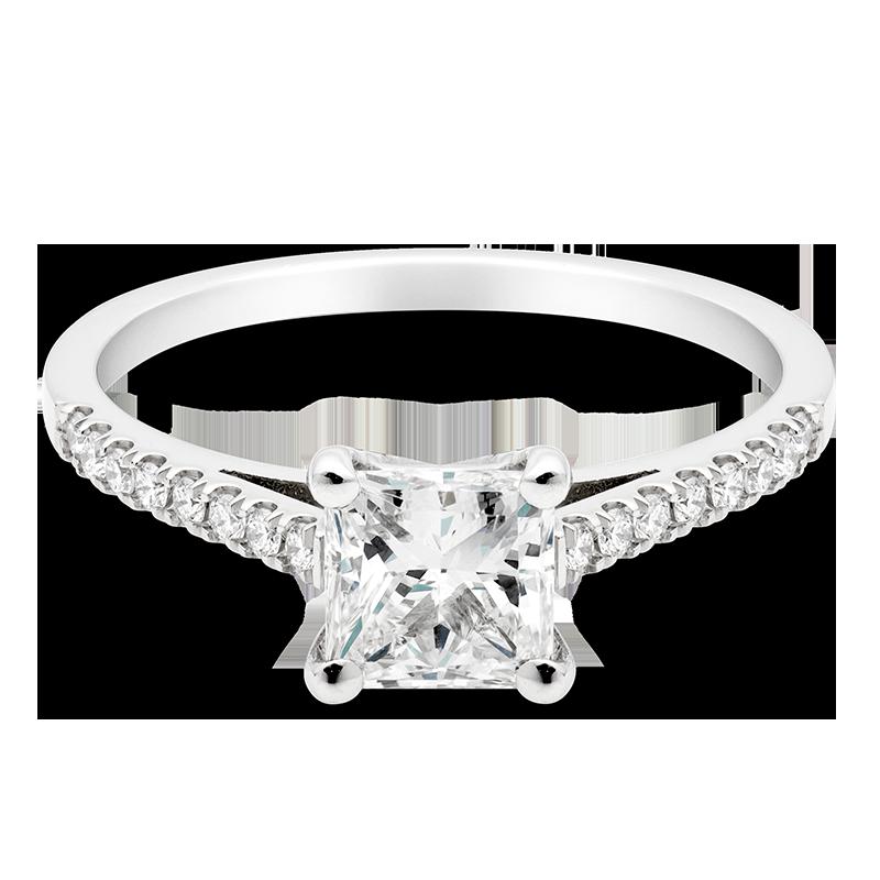 Princess Set with Diamonds, Platinum.