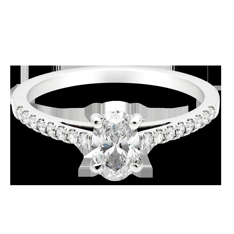 Oval Set with Diamonds, Platinum
