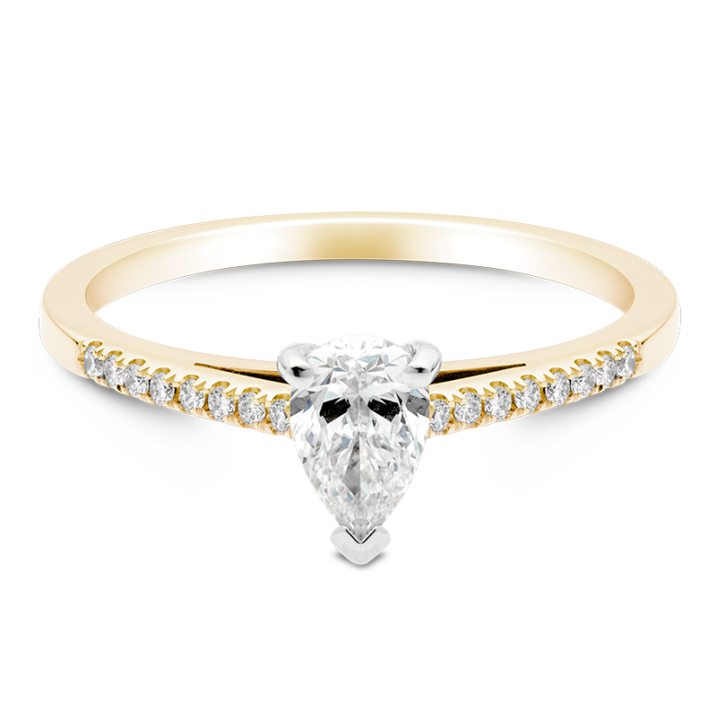 Pear Set with Diamonds, 18ct Yellow Gold