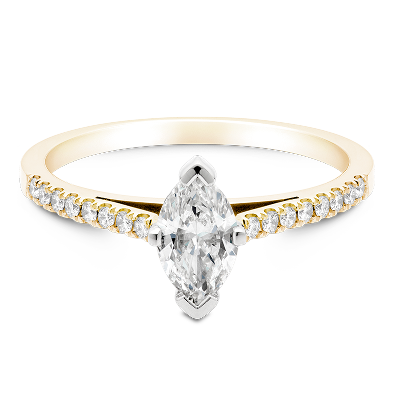 Marquise Set with Diamonds, 18ct Yellow Gold