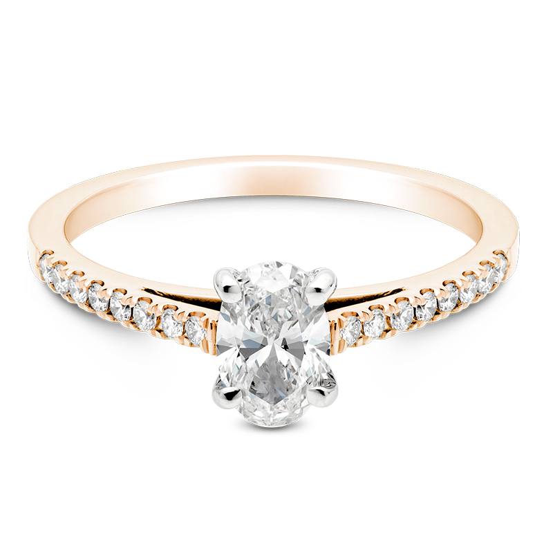 Oval Set with Diamonds, 18ct Rose Gold