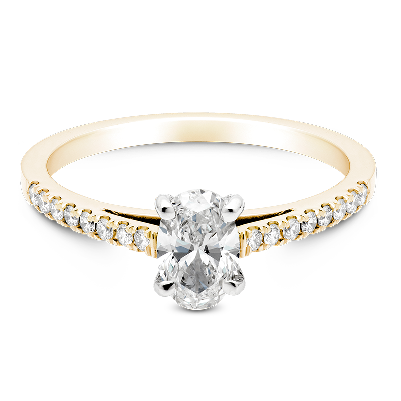 Oval Set with Diamonds, 18ct Yellow Gold