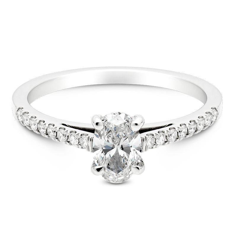 Oval Set with Diamonds, 18ct White Gold