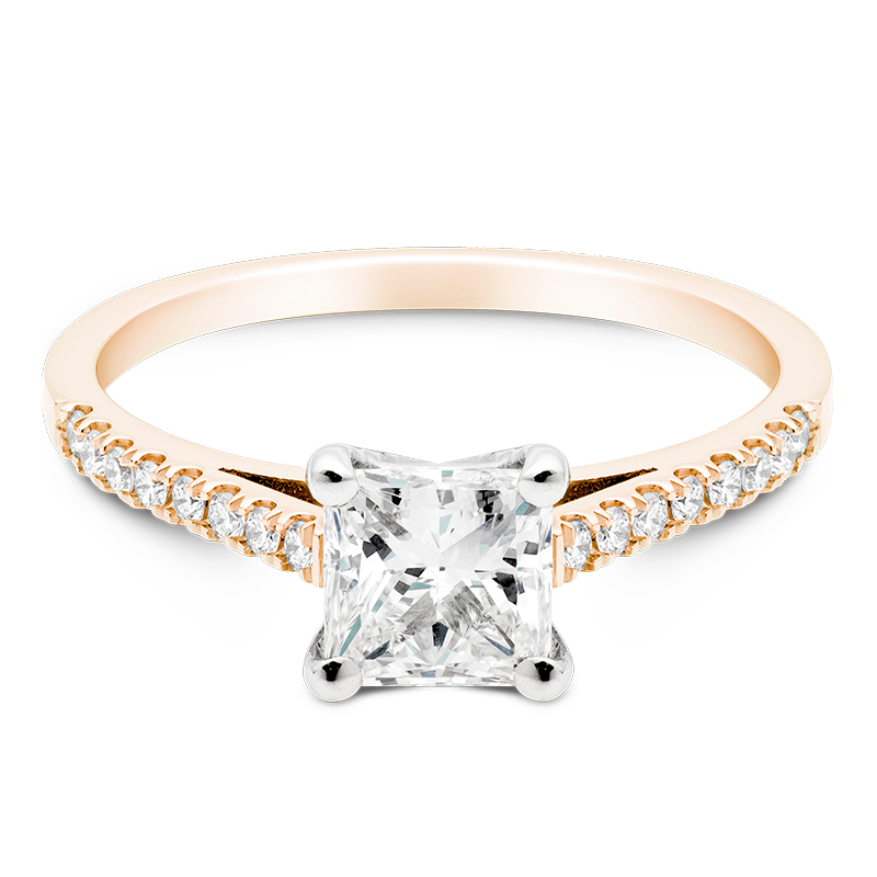 Princess Set with Diamonds, 18ct Rose Gold