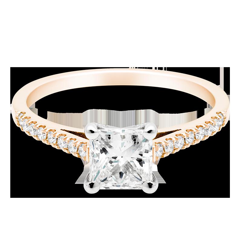 Princess Set with Diamonds, 18ct Rose Gold