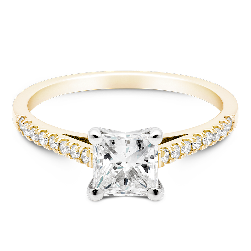 Princess Set with Diamonds, 18ct Yellow Gold