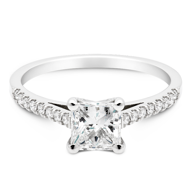 Princess Set with Diamonds, 18ct White Gold
