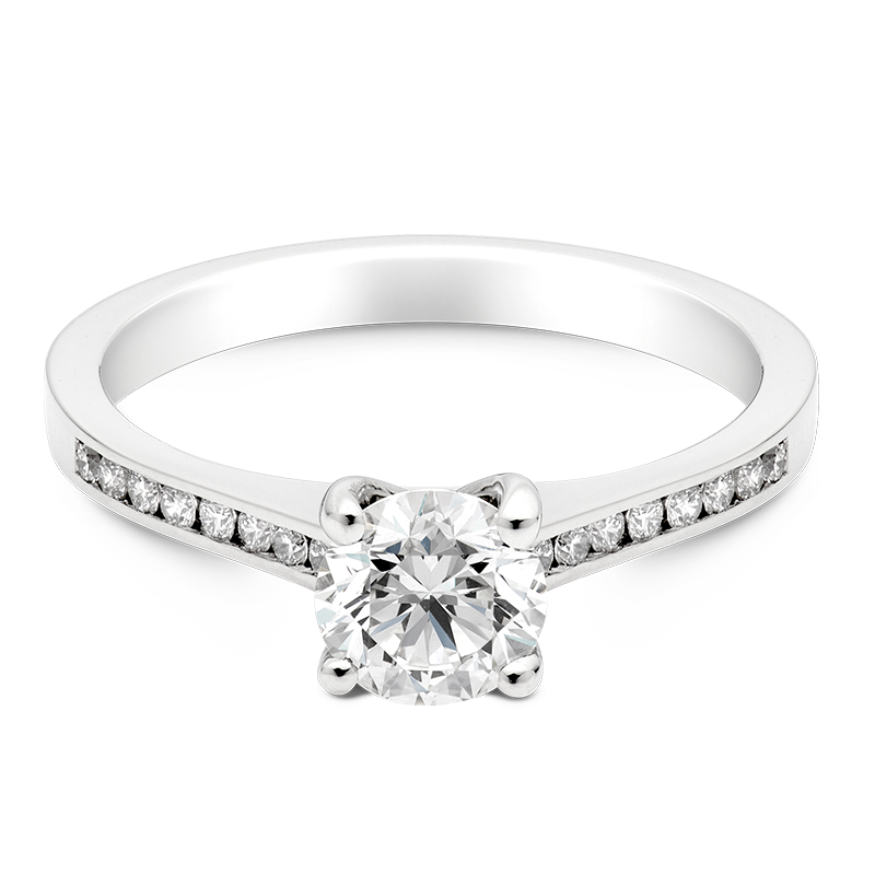 Round Brilliant Set with Diamonds, 18ct White Gold