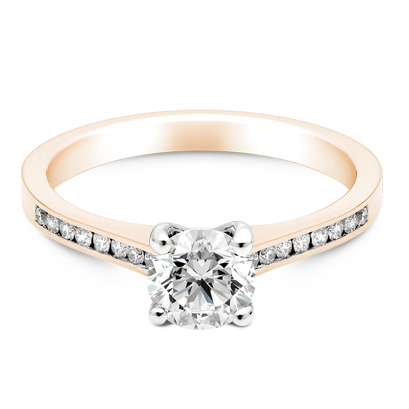 Round Brilliant Set with Diamonds, 18ct Rose Gold