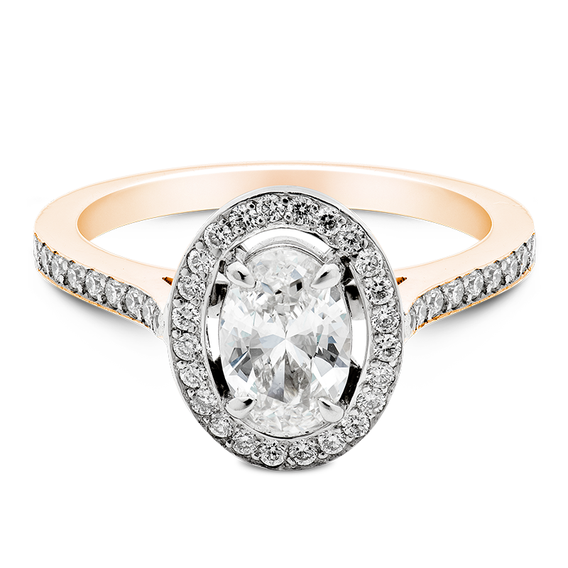 Oval Cut Separated Halo, 18ct Rose Gold