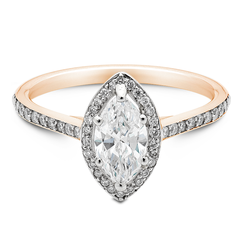 Marquise Cut Halo, 18ct Rose Gold
