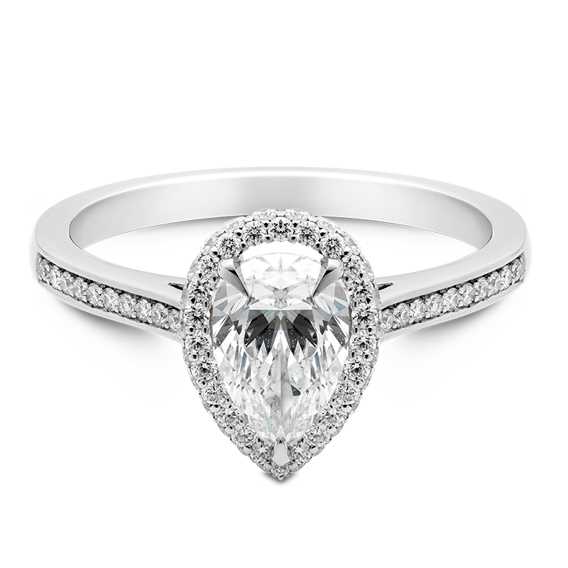 Pear Cut Halo, 18ct White Gold