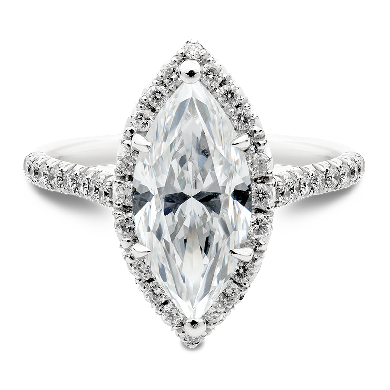 3.40ct Marquise Cut Diamond Halo, Masterpiece