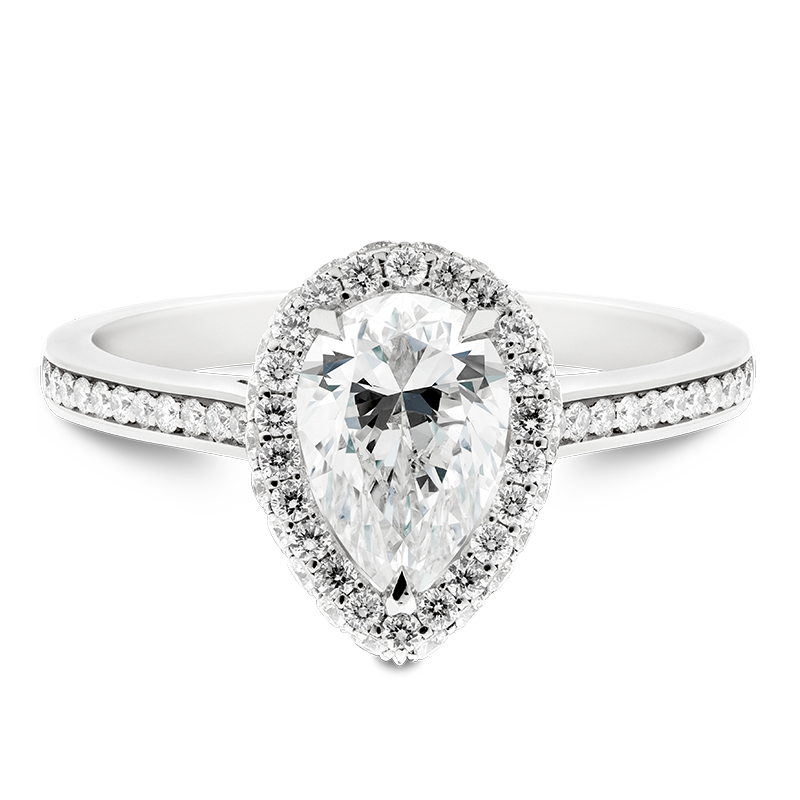 Pear Cut Halo with Shoulders