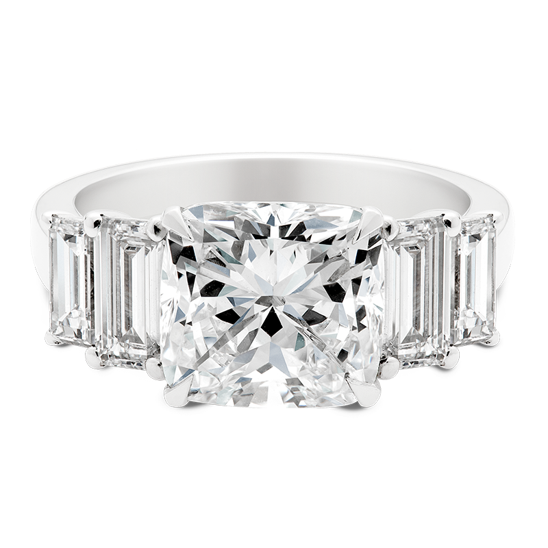 3.03ct Cushion & Baguette Cut Ring, Masterpiece