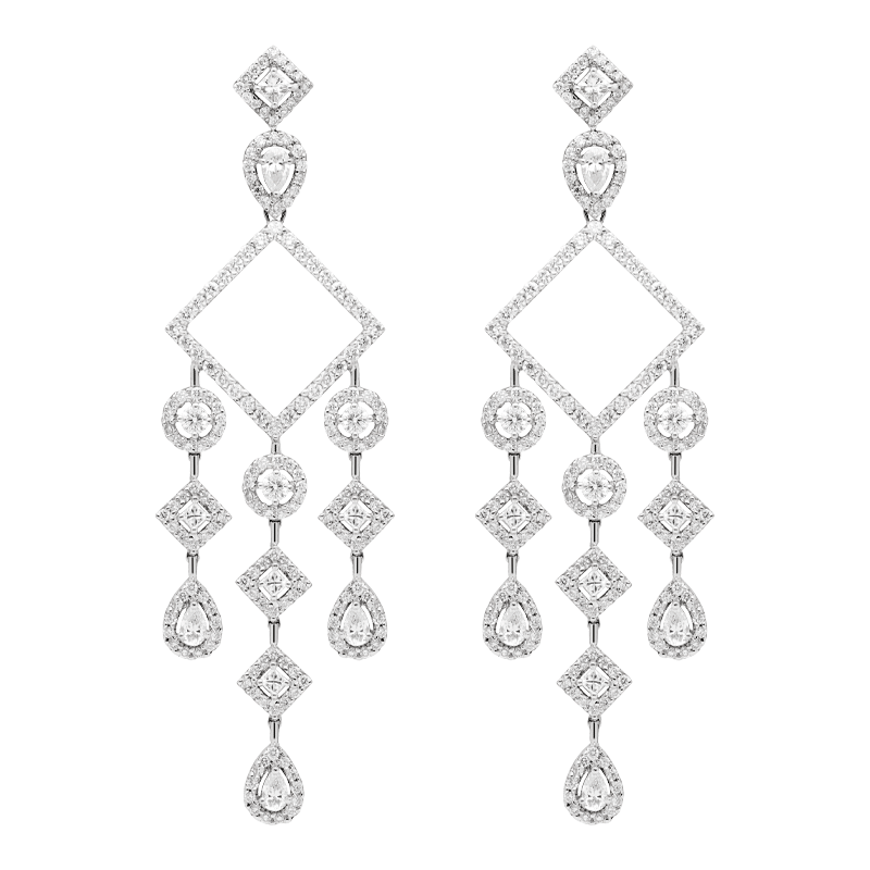 A Pair of Open Square Chandlier Drop Earrings